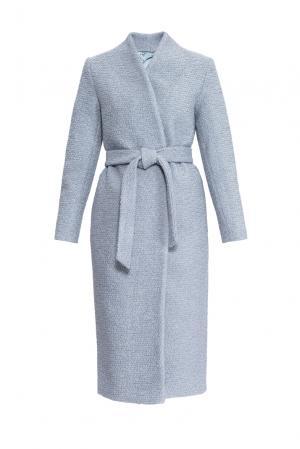 Пальто из шерсти с поясом 161018 Anna Dubovitskaya. Цвет: синий