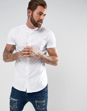 SikSilk Белая обтягивающая рубашка с трикотажными рукавами. Цвет: белый