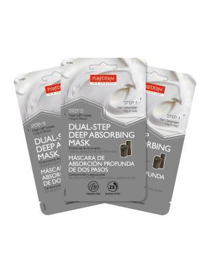 Набор из трех масок, Двойной уход,  Очищающий гель 3 г., Маска пленка с углем и авокадо 10 г. Purederm. Цвет: черный