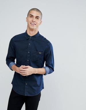 Esprit Джинсовая рубашка с покрытием. Цвет: синий