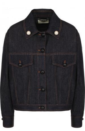 Джинсовая куртка свободного кроя с декорированной спинкой Fendi. Цвет: синий