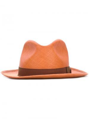 Классическая шляпа с контрастной тесьмой Loro Piana. Цвет: жёлтый и оранжевый