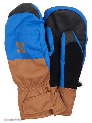 Варежки DC Shoes. Цвет: голубой, коричневый