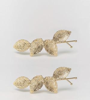 ASOS Комплект из 2 заколок для волос в виде листочков. Цвет: золотой