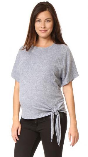 Объемная футболка для беременных MONROW. Цвет: гранит