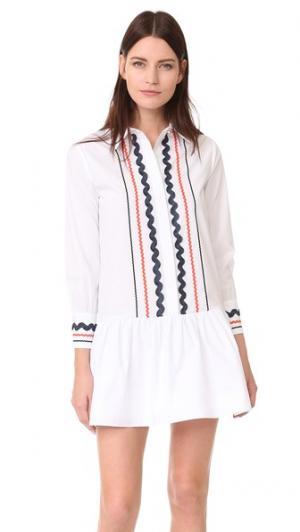 Платье с воротником и заниженной талией ENGLISH FACTORY. Цвет: белый мульти