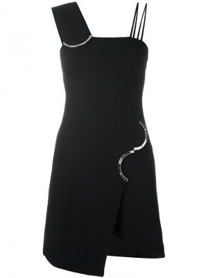 Асимметричное платье с металлической отделкой David Koma. Цвет: чёрный