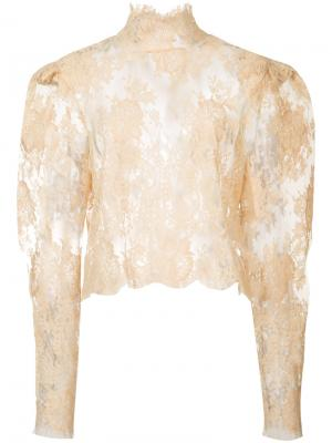 Кружевная блуза Ryan Roche. Цвет: жёлтый и оранжевый
