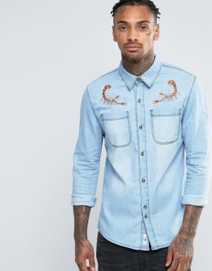 Bellfield Джинсовая рубашка с омаром. Цвет: серый