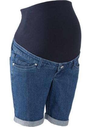 Джинсовые шорты для беременных (синий «потертый») bonprix. Цвет: синий «потертый»