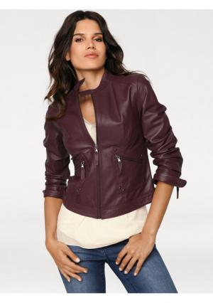 Кожаная куртка Ashley Brooke. Цвет: бордовый