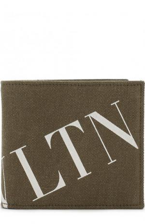 Хлопковое портмоне с отделениями для кредитных карт Valentino. Цвет: хаки