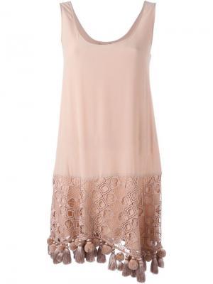 Платье с кисточками Nº21. Цвет: телесный