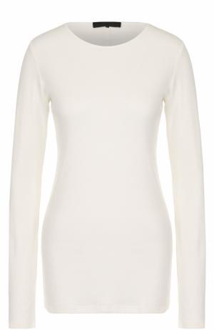 Удлиненный хлопковый пуловер с круглым вырезом The Row. Цвет: бежевый