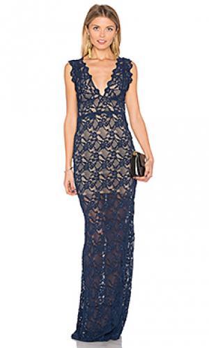 Макси платье perfect plunge Nightcap. Цвет: синий