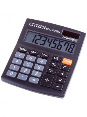 Калькулятор карманный LC-110N 8 разрядов, питание от батарейки, 58*87*12 мм, черный CITIZEN. Цвет: черный