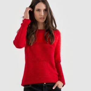 Пуловер с круглым вырезом и пушистым верхом MOLLY BRACKEN. Цвет: красный,черный