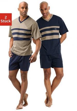 Короткая пижама, Le Jogger (2 шт.). Цвет: синий морской + бежевый