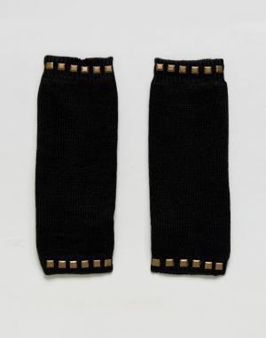 Plush Митенки на флисовой подкладке с отделкой шипами. Цвет: черный