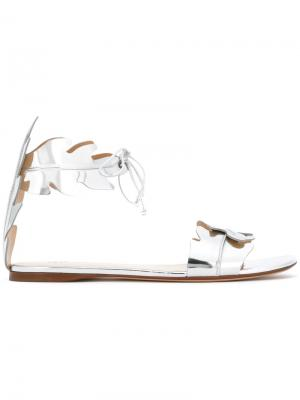 Leaves motif sandals Francesco Russo. Цвет: металлический