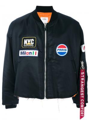 Куртка-бомбер с заплатками Doublet. Цвет: чёрный