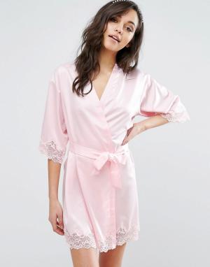 Boux Avenue Халат-кимоно с кружевной отделкой. Цвет: розовый