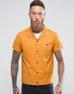 ASOS Желтая рубашка стандартного кроя с отложным воротником. Цвет: желтый