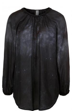 Шелковая блуза свободного кроя с круглым вырезом Raquel Allegra. Цвет: темно-синий