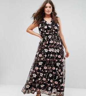Truly You Платье макси с V-образным вырезом и вышивкой. Цвет: мульти