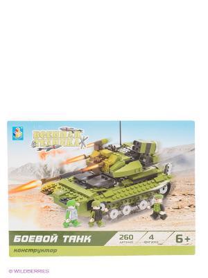 Конструктор Военная техника - Боевой танк (260 деталей) 1Toy. Цвет: зеленый