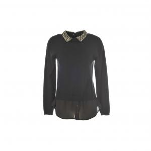 Пуловер из двух материалов с отделкой воротника бижутерией Odin RENE DERHY. Цвет: черный