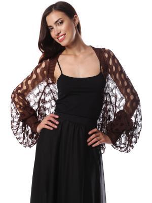 Болеро безразмерное шелковое вязаное Шоколадные Волны SEANNA. Цвет: коричневый
