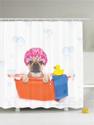 Фотоштора для ванной Бульдог в розовой шапочке купается оранжевом тазу, 180*200 см Magic Lady. Цвет: белый, голубой, желтый, молочный, оранжевый, синий