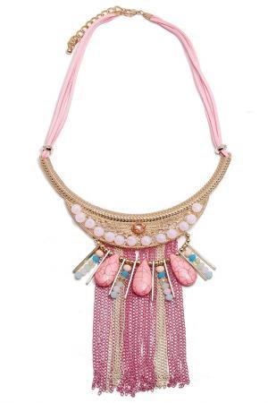 Колье Boho Chic. Цвет: розовый, золотой, голубой