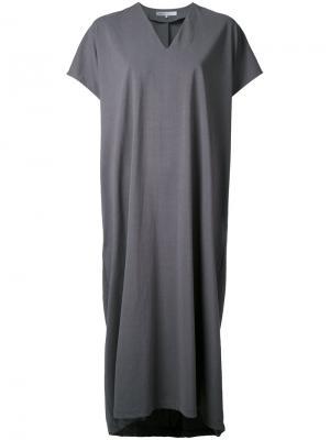 Трикотажное платье с V-образным вырезом 08Sircus. Цвет: серый