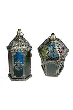 Подсвечник Фонарь Русские подарки. Цвет: бронзовый, синий