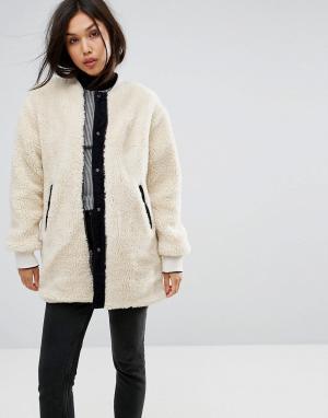 Parka London Двусторонняя куртка из вельвета / искусственного меха. Цвет: кремовый