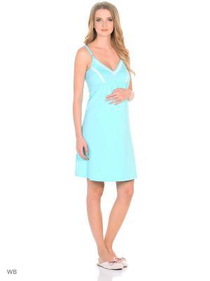 Ночная сорочка для беременных и кормящих FEST. Цвет: зеленый, белый