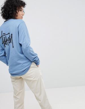 Stussy Лонгслив с логотипом на спине. Цвет: синий