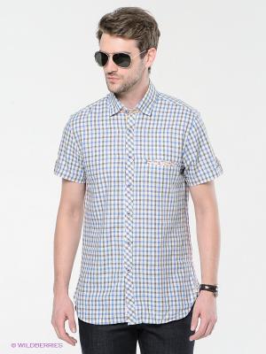 Рубашка MONDIGO. Цвет: синий, зеленый