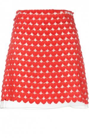 Юбка А-силуэта с контрастной вышивкой Giamba. Цвет: красный
