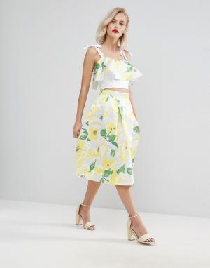 Horrockses Желтая юбка миди для выпускного с цветочным принтом. Цвет: мульти