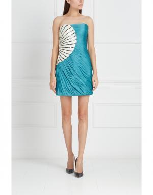 Платье из шелка и полиэстера Jay Ahr. Цвет: зеленый