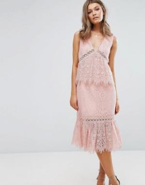 Foxiedox Кружевное платье миди с V-образным вырезом и оборками. Цвет: розовый