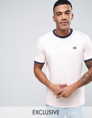 Russell Athletic Футболка с вышивкой логотипа. Цвет: розовый