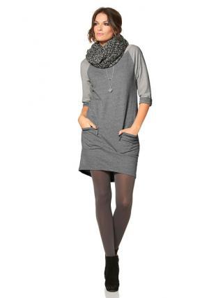 Платье Aniston. Цвет: серый меланжевый, черный