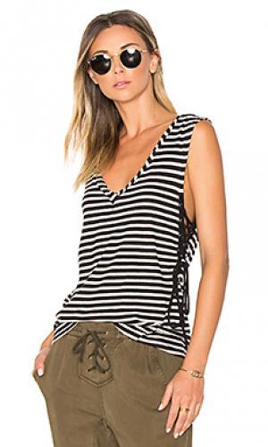 Майка в полоску на шнуровке Pam & Gela. Цвет: black & white
