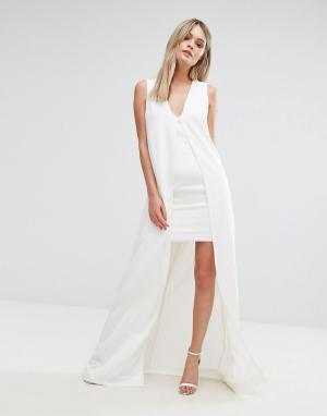 Lavish Alice Облегающее платье с верхним слоем в стиле кейп. Цвет: белый