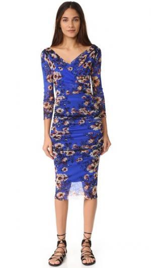 Платье с длинными рукавами Fuzzi. Цвет: васильковый