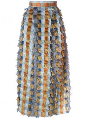 Длинная юбка с бахромой Cristiano Burani. Цвет: синий